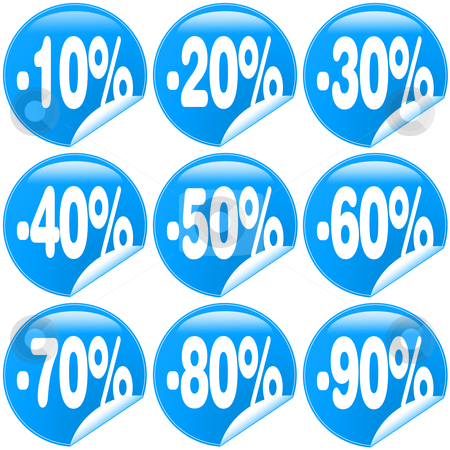 Discound stock photo, Blue Discount Label and Sticker from -10% up to -90% by novelo