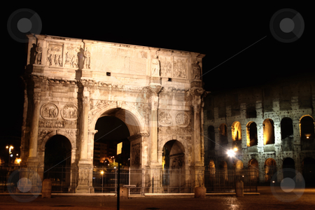 Arco de Constantino and Colosseum in Rome, Italy stock photo, details of night Arco de Constantino and Colosseum in Rome, Italy by vladacanon1