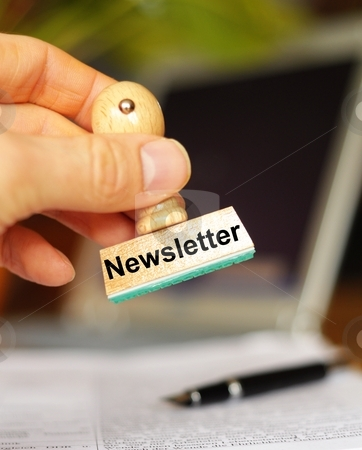 Newsletter stock photo, newsletter concept with stamp in office showing news concept by Gunnar Pippel