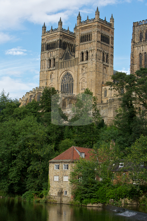Durham  stock photo, Durham Cathedral overlooking the river with a pump house by Vividrange