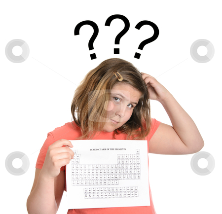 Periodic Table of Elements stock photo, A young girl confused at having to learn the periodic table of elements. by Richard Nelson