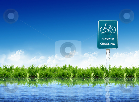 Bicycle sign and   landscape  stock photo, bicycle sign and   landscape by rufous