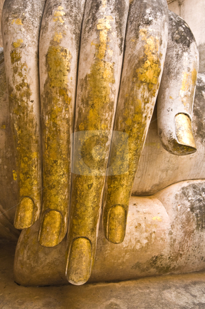 Wat Si Chum stock photo, part of the hand of the big buddha statue of wat Si Chum by Juliane Jacobs