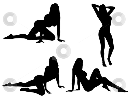 Sexy Woman Silhouette's stock photo, Four silhouette's of a sexy woman posing, isolated on a solid white background.  by Randall Reed