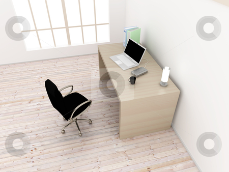 Workplace stock photo, A office workplace. 3D rendered Illustration.  by Michael Osterrieder