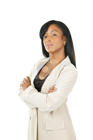 Black businesswoman with arms crossed stock photo, Serious  black businesswoman with arms crossed isolated on white background by Elena Elisseeva