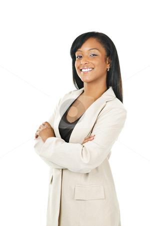 Smiling black businesswoman with arms crossed stock photo, Smiling black businesswoman with arms crossed isolated on white background by Elena Elisseeva