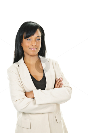 Confident black businesswoman with arms crossed stock photo, Happy black businesswoman with arms crossed isolated on white background by Elena Elisseeva