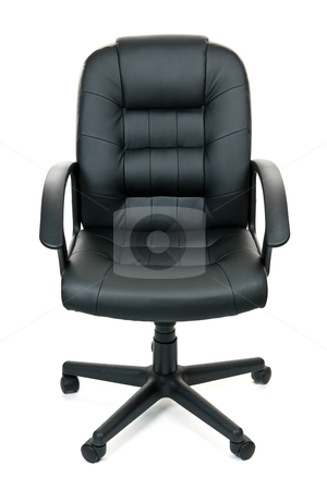 Office chair stock photo, Black leather managers office swivel chair isolated on white background by Elena Elisseeva