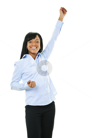 Excited happy young woman with arm raised stock photo, Excited black woman raising arm in victory isolated on white background by Elena Elisseeva