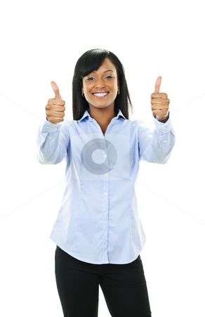 Smiling young woman giving thumbs up stock photo, Smiling black woman gesturing thumbs up isolated on white background by Elena Elisseeva