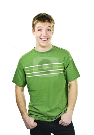 Young man laughing stock photo, Laughing young man standing isolated on white background by Elena Elisseeva