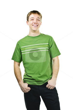 Smiling young man stock photo, Happy young man standing isolated on white background by Elena Elisseeva