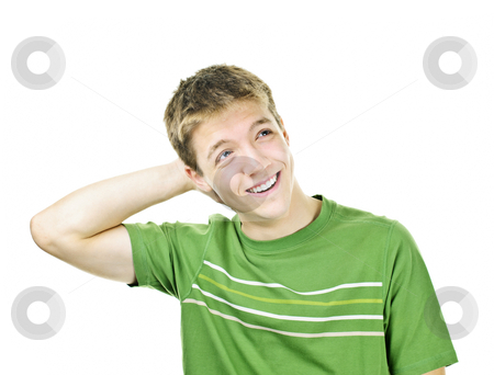 Happy young man stock photo, Relaxed smiling young man with hand behind his head isolated on white by Elena Elisseeva