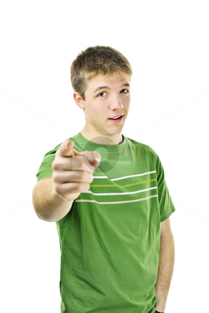 Young man pointing finger stock photo, Serious young man pointing finger at camera isolated on white background by Elena Elisseeva