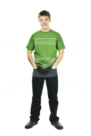 Confident young man stock photo, Happy young man full body standing isolated on white background by Elena Elisseeva