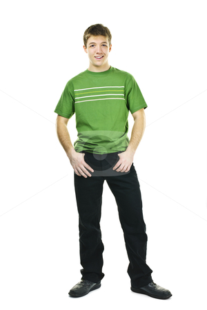 Friendly young man stock photo, Smiling friendly young man full body standing isolated on white background by Elena Elisseeva