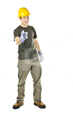Construction worker pointing stock photo, Young construction worker with hard hat pointing isolated on white background by Elena Elisseeva