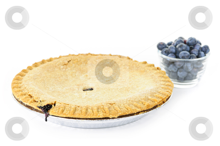 Blueberry pie stock photo, Whole blueberry pie with fresh wild blueberries isolated on white background by Elena Elisseeva