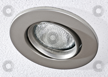 Pot light in ceiling tile stock photo, Closeup of pot light recessed lighting in ceiling tile by Elena Elisseeva