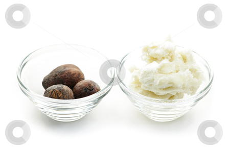 Shea butter and nuts in bowls stock photo, Shea butter and nuts in glass bowls isolated on white by Elena Elisseeva