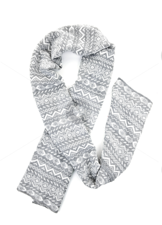 Gray winter scarf stock photo, Gray winter wool scarf with pattern isolated on white by Elena Elisseeva