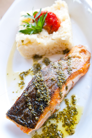 Grilled Salmon stock photo, Grilled Salmon - with fresh lettuce and mash potatoes by ilolab