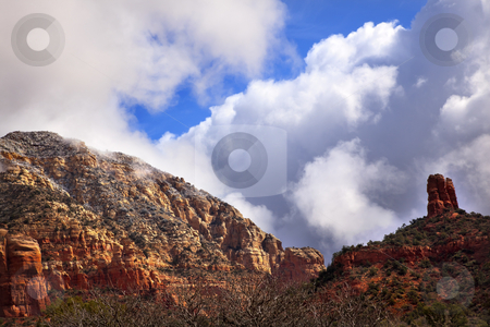 Clouds Blue Sky Over Boynton Red Rock Canyon Sedona Arizona stock photo, High Towering Clouds Blue Sky Boynton Red Rock Canyon Green Trees Sedona Arizona by William Perry