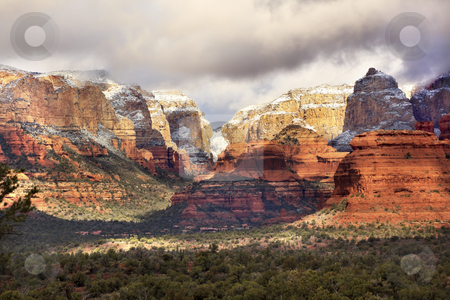 Boynton Red White Rock Canyon Snow Clouds Sedona Arizona stock photo, Boynton Red Rock White Canyon Snow Clouds Green Trees Sedona Arizona by William Perry