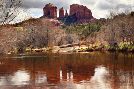Cathedral Rock Canyon Oak Creek Reflection Sedona Arizona stock photo, Cathedral Red Rock Canyon Oak Creek Green Trees Sedona Arizona by William Perry