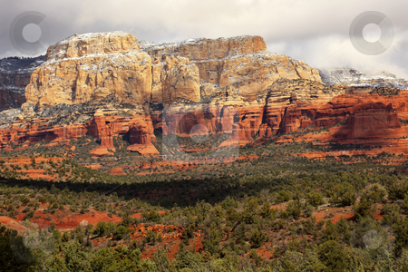 Boynton Red White Rock Canyon Snow Clouds Sedona Arizona stock photo, Boynton Red Rock Canyon Snow Clouds Green Trees Forest Desert Sedona Arizona by William Perry