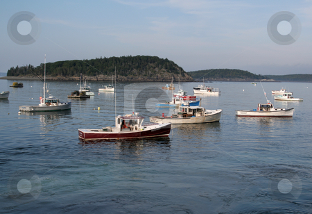 Fishing Boats in Bar Harbor stock photo, Fishing boats resting at anchor in Bar Harbor, Maine.  by Chris Hill