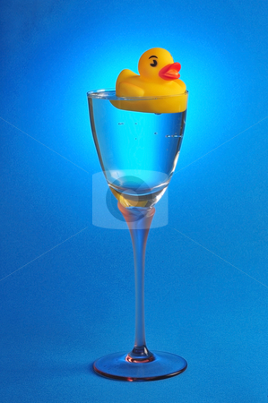 Rubber Ducky stock photo, Rubber ducky floating in glass of water. by WScott