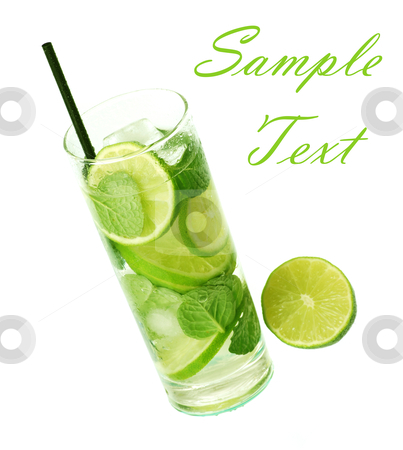 Mojito cocktail stock photo, Mojito cocktail in white background by bakelyt