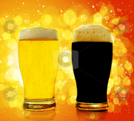 Gold and black beer stock photo, Gold and black beer by bakelyt