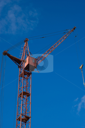 Tower crane stock photo, Photo of a tower crane on sky background by olinchuk