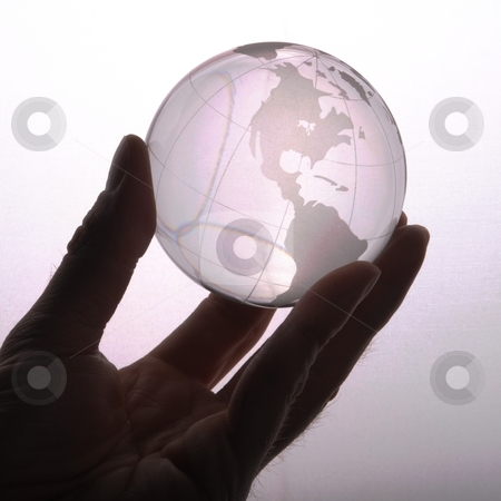 Environmental protection stock photo, environmental protection or business concept with glass globe in hand isolated on white by Gunnar Pippel