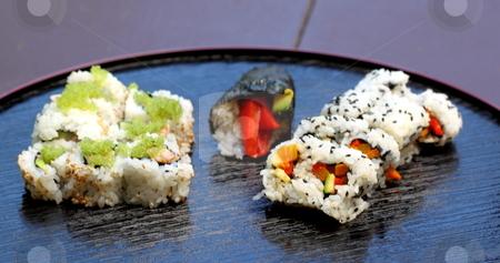 Sushi california roll stock photo, healthy very popular Japanese food sushi california roll  by Henrik Lehnerer