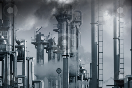 Oil. gas and fuel installation stock photo, large oil and gas refinery, toxic, smog and smoke, blue toning concept by lagereek