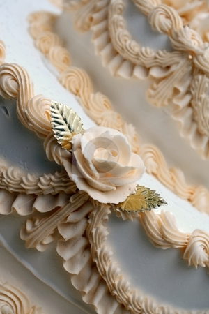 Decorated Cake stock photo, A cake with decorative icing by Karma Shuford