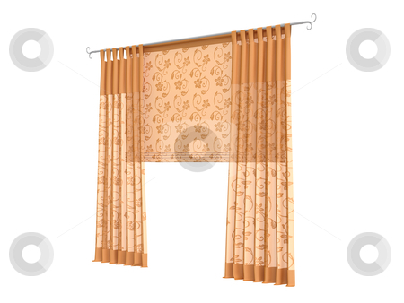 Curtains stock photo, Curtains isolated on white background by Nmorozova