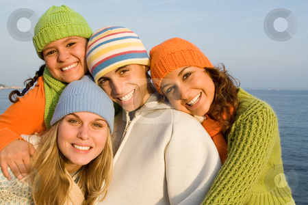 Happy group of smiling teens stock photo, happy group of smiling teens by mandygodbehear