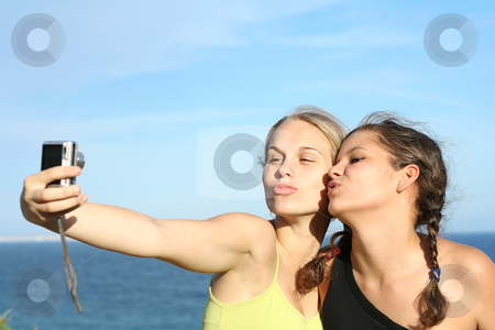 Teen girls on road trip vacation stock photo, teen girls on road trip vacation by mandygodbehear