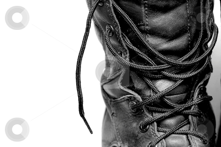 Black Boot stock photo, a black untied boot by Karma Shuford