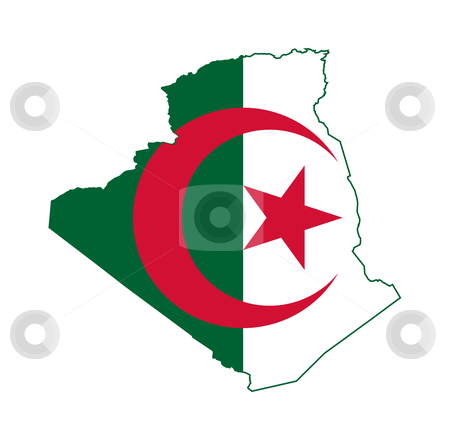 Algeria flag on map stock photo, Algeria flag on map of country; isolated on white background. by Martin Crowdy