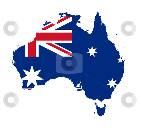 Australia flag on map stock photo, Illustration of Australia flag on map of country; isolated on white background. by Martin Crowdy