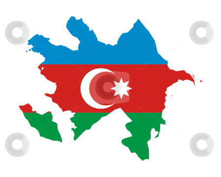Azerbaijan flag on map stock photo, Illustration of Azerbaijan flag on map of country; isolated on white background. by Martin Crowdy