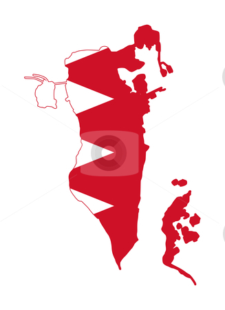 Bahrain flag map stock photo, Illustration of Bahrain flag on map of country; isolated on white background. by Martin Crowdy