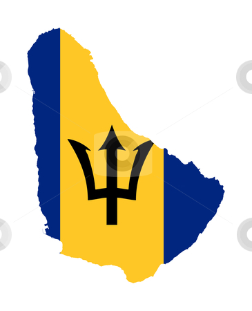 Barbados flag map stock photo, Illustration of Barbados flag on map of country; isolated on white background. by Martin Crowdy