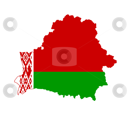 Belarus flag map stock photo, Illustration of Belarus flag on map of country; isolated on white background. by Martin Crowdy